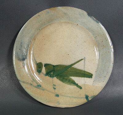 Antique Mantis Grasshopper Insect Salt Glazed Stoneware Art Pottery Plate Dish