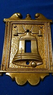 """Vintage Metal Liberty Bell Toggle light switch cover NO screws 5 1/8 x 4"""" Vernon"""