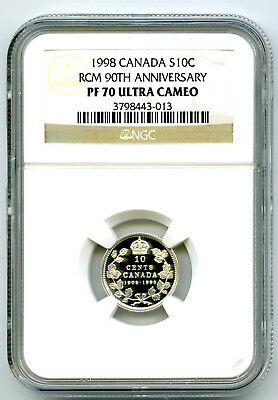 1908-1998 Canada Silver Proof 10 Cent Ngc Pf70 Rcm 90Th Anniversary Dime Rare