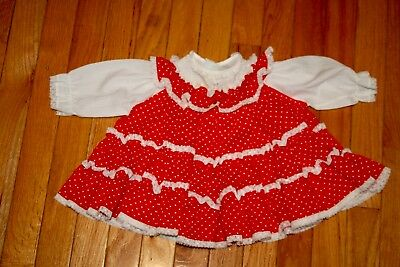 Vintage Baby Dress-Toddle Tyke-Size 6 Months-Red/white-Lace Trim-Polka Dots