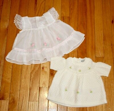 Vintage Baby Dress-& Sweater-Size 18 Months-White/pink-Flowers-Lace-
