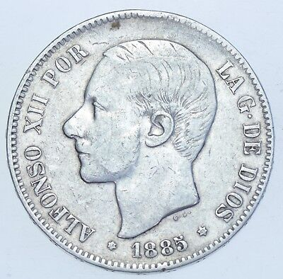 Spain Alfonso Xii, 5 Pesetas, 1885-Ms.m (87), Silver Coin Vf