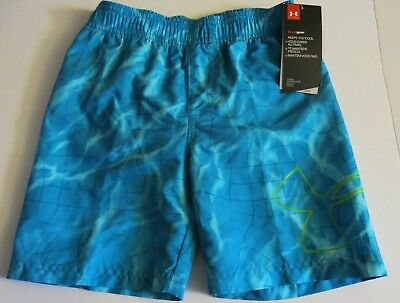 7dde76c3db2e6 Under Armour Boy's Water Grid Volley Swim Trunks Shorts Blue Mesh Lined 4/5/