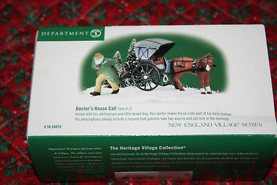 Dept 56 NEW ENGLAND VILLAGE  56616 DOCTOR'S HOUSE CALL 2 pcs Horse Buggy MIB