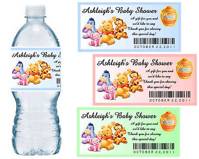 20 Winnie The Pooh Baby Shower Favors Water Bottle Labels