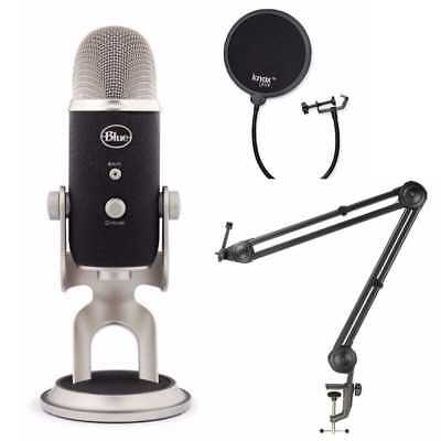 Blue Microphones Yeti Pro USB Mic with Suspension Boom Arm Stand and Pop Filter