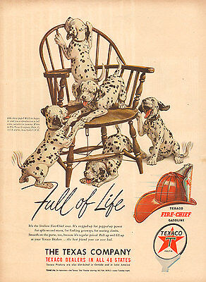 1950 vintage AD TEXACO Fire Chief Gasoline ,  Art Dalmatian Puppies Cute 011617
