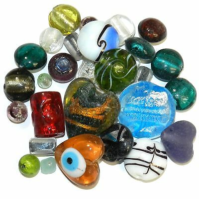 GX4488f Assorted Color, Size & Shape 5mm - 29mm Lampworked Glass Bead Mix 16oz