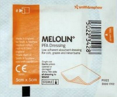 Melolin 5cmx5cm Sterile First Aid dressing pads Non Adhesive Burns Cuts Wounds