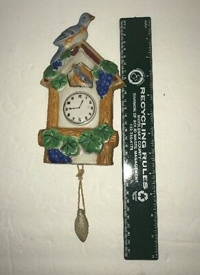 Vintage Ceramic Clock Wall Pocket with Birds Marked Japan