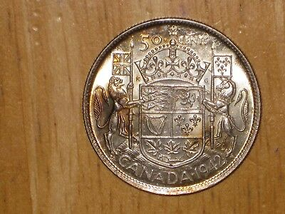Canada 1942 silver 50 Cents coin Extremely Fine nice