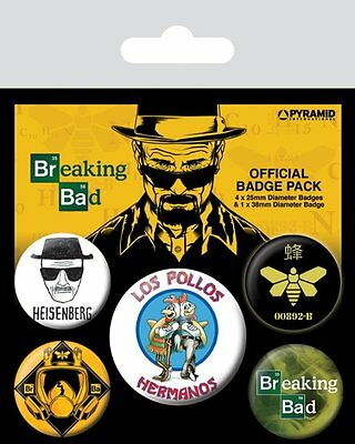 Button Badge 5er Pack BREAKING BAD - Los Pollos Hermanos 1x38mm & 4x25mm NEU