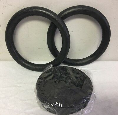 "Black Gymnastic Fitness Exercise 9"" Rings With Straps"