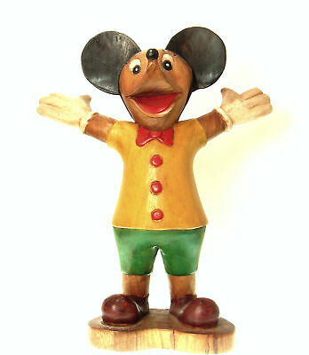 "HAND CARVED FOLK ART HAPPY MOUSE WOOD STATUE 20"" FIGURINE Extra Large"