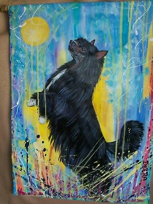 Chinese Crested Powderpuff PAINTING WALL HANGING hand painted dog art canvas blk