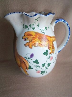 HP Golden Retriever small PITCHER clover ceramic hand painted painting dog art