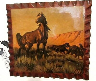 """Retro 60s 70s Shellac Wood Horse Mustang Family Stallion Mares Foal Picture 10"""""""