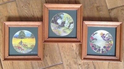 Three Embroidered & Painted Framed Pictures By Anne Harrison Simply Stunning