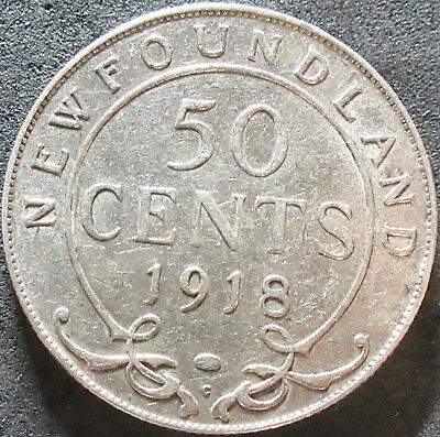 1918-C New Found Land Canada Silver Fifty Cent Coin