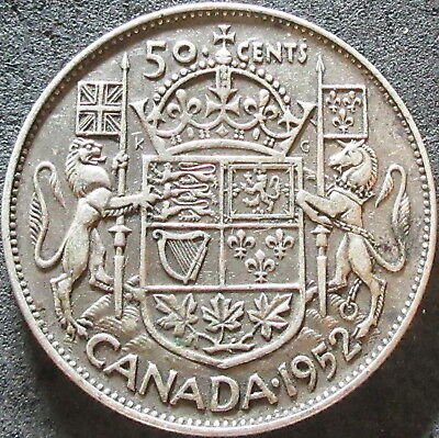 1952 Canada Silver Fifty Cent Coin