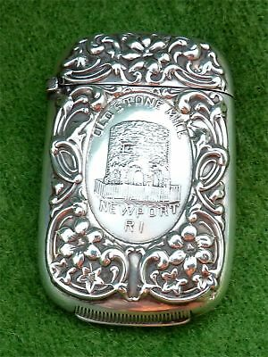 Ornate Sterling Silver Vesta Case - 'old Stone Mill, Newport R.i.' - Dated 1907