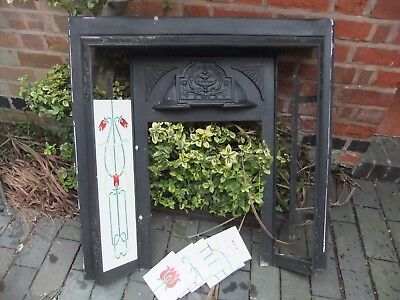 Fireplace cast iron VICTORIAN style modern reproduction 94cm wide 92 high +tiles