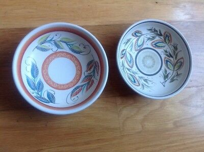2 x Vintage Denby Stoneware Glyn Colledge Hand Painted Bowls - 14.5cm Diameter