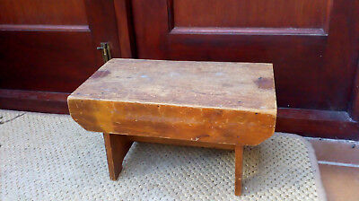 """Small Vintage Wooden Stool Seat Pine Children Kids Step Antique Old 14x8x8"""""""