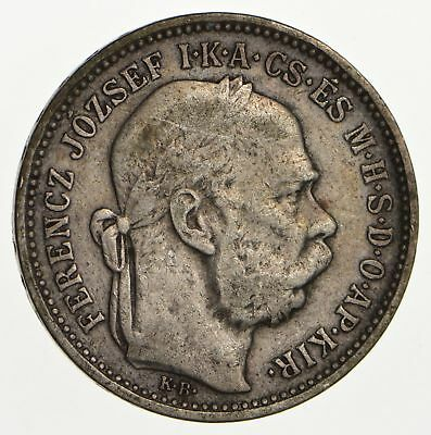 SILVER - Roughly the Size of a Nickel - 1894 Hungary 1 Korona *002