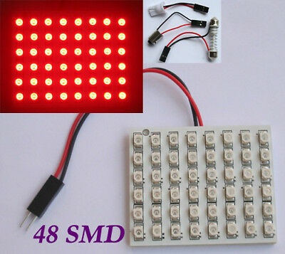 Car Interior Red Light Panel 48 SMD LED + T10 BA9S Dome Adapters 12V
