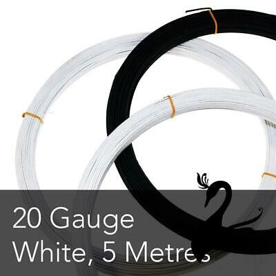 Cotton Covered Wire for Millinery Craft - 20 Gauge (Pliable) - White (Price for