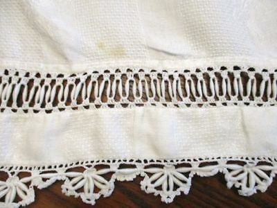 Large Huck Linen Antique Butler Towel Floral Damask Design  Crocheted Insert Hem