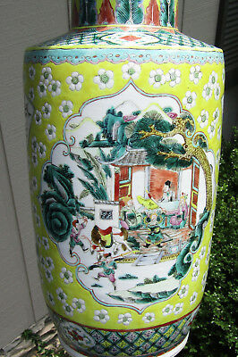 Fine Large Chinese Guangxu Period Famille Jaune Vase, 19Th Century, Rose