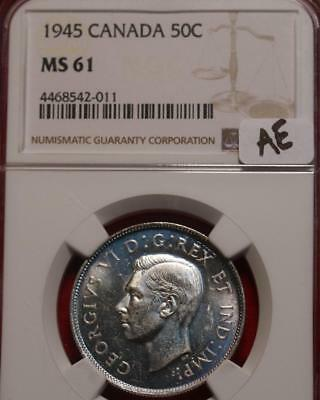 1945 Canada 50 Cents Silver Foreign Coin NGC Graded MS 61