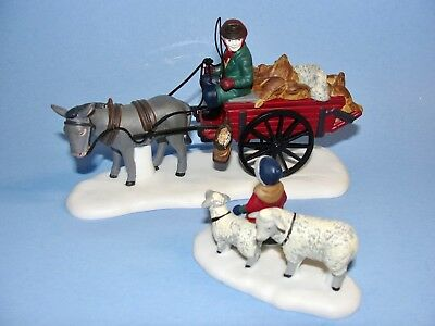 Dept 56 Dickens Village - Bringing Fleeces To The Mill 58190 Set 2 Horse Sheep