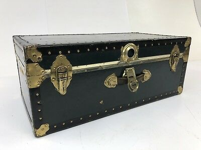 Vintage BLACK STEAMER TRUNK storage chest foot locker box crate industrial gold