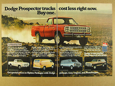 1979 Dodge PROSPECTOR Pickup Power Wagon Van Ramcharger trucks vintage print Ad