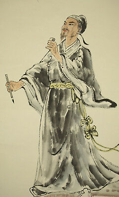 "掛軸1967 CHINESE HANGING SCROLL ""Li Bai with Cup and Brush""  @f506"