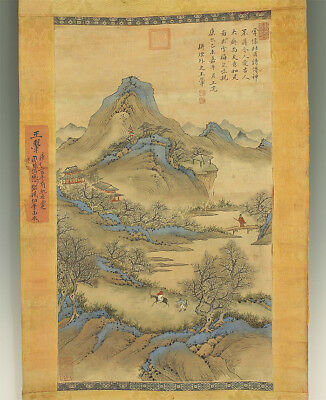 "掛軸1967 CHINESE HANGING SCROLL ""Flower Blossoms Landscape""  @f508"