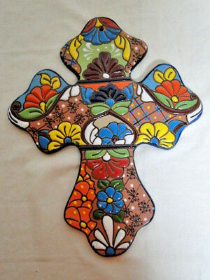 "Talavera Cross 14"" & 11"" Fine Ceramic Mexico Hecho"