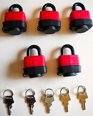 5 Piece 30mm padlock - KEYED ALIKE - Moisture resistant - RED