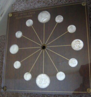 Vintage 1964 or 1964D Last US Silver Coinage Clock Face, $2.30 in silver coins,