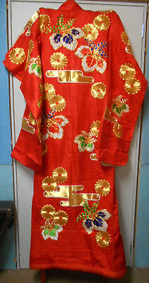 Vintage Japanese WEDDING KIMONO BRIGHT RED GOLD FLOWERS #51