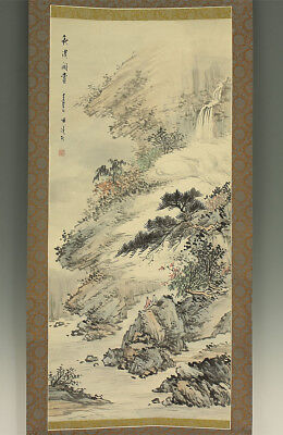 "掛軸1967 CHINESE HANGING SCROLL ""Waterfall and Autumn Landscape""  @f516"