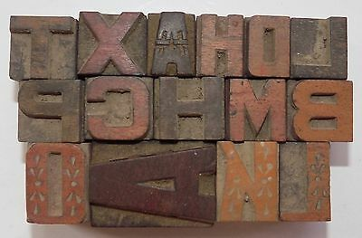"Letterpress Letter Wood Type Printers Block ""Lot Of 15"" Typography #bc-458"