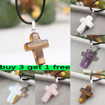 1X Cross Natural Stone Quartz Charms Pendant / Necklace Women Men Jewelry Choker