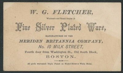 1870s Boston Meriden Britannia Ware & Silver Plated Ware Dealer Card