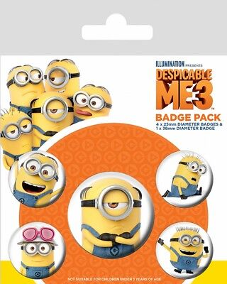 Button Badge 5er Pack DESPICABLE ME 3 - Minions -1x 38mm & 4x 25mm BP80594