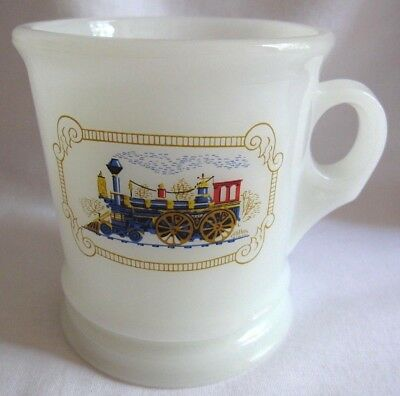 Vintage Avon Milk Glass Shaving Mug Locomotive Train Design