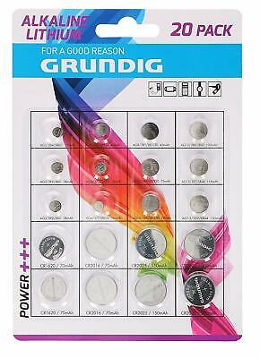 Grundig 20 Pack Assorted Button Cell Batteries For Watch Camera Expiry 02-2023